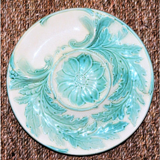1940s Antique French Majolica Artichoke Plate, Gien For Sale - Image 5 of 5