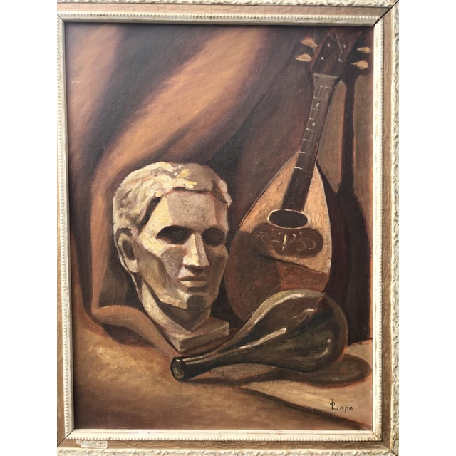 Modern brown toned painting circa 1970's by Lape.