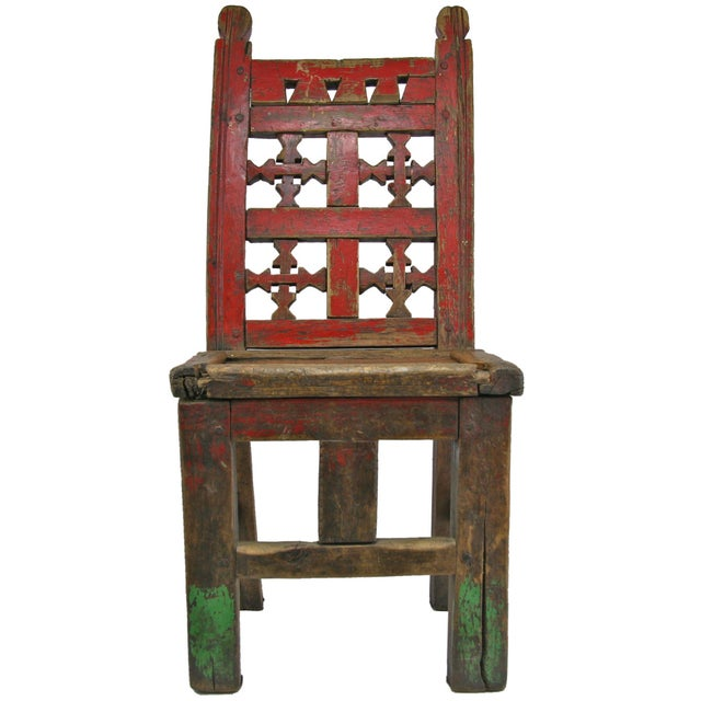 Red Antique Primitive Hand-Carved Chair - Image 5 of 5