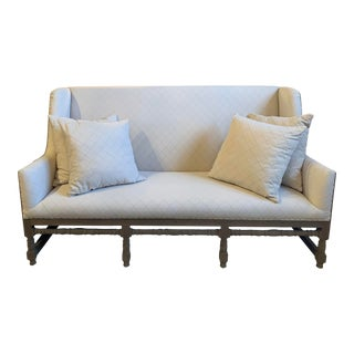 Contemporary High Back English Settee With Deconstructed Back with Four Pillows For Sale