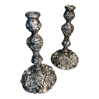 Repousse C1860 m.b. Co. Silver Plated Candlesticks - a Pair For Sale