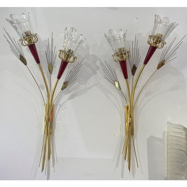 Mid-Century Modern Maison Arlus Sconces - a Pair For Sale - Image 12 of 13