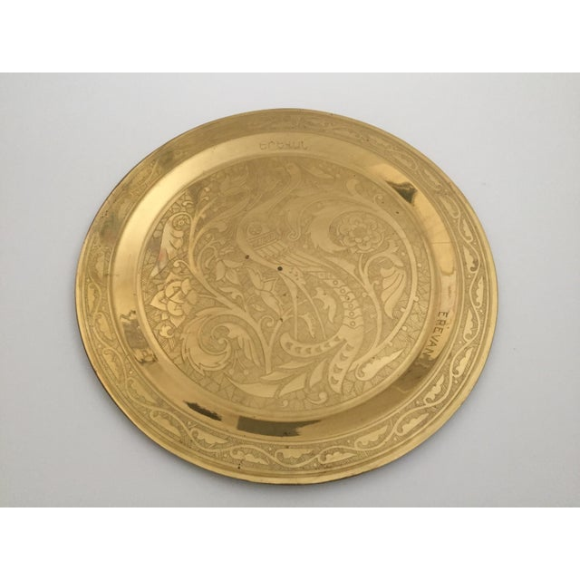Metal Vintage Mid Century Armenian Solid Brass Hand Etched Peacock Round Serving Tea Tray For Sale - Image 7 of 11