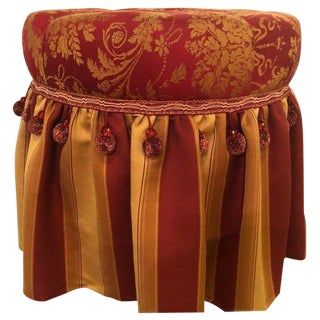 1970s Vintage Deco Upholstered Tufted Red and Gilt Decorated Ottoman For Sale