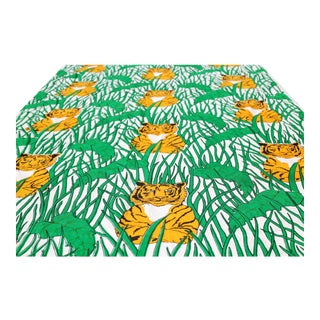 """Vintage """"Who's Next?"""" Orange Tiger in Green Foliage Barkcloth Fabric by Patterson-Piazza - 4.5 Yards For Sale"""