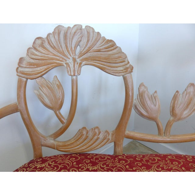 1980s LaVerne Style Carved Wood Settee For Sale - Image 5 of 12