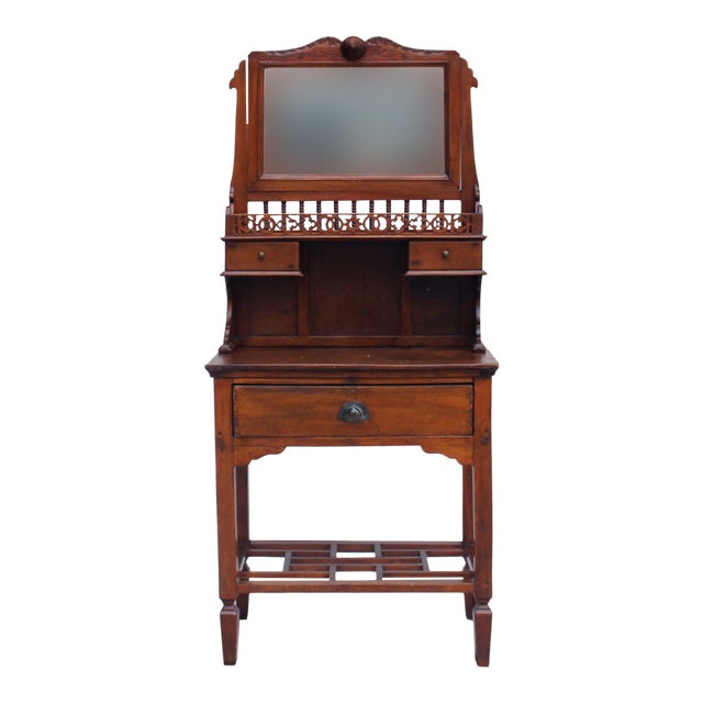 Chinese Oriental Vintage Wash Basin Make Up Vanity Table Chest For Sale