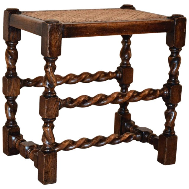 19th Century English Turned Stool With Caned Top For Sale