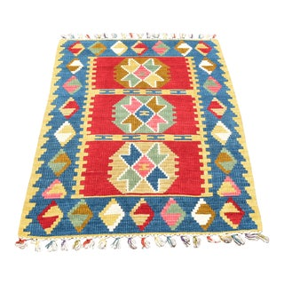 1970s Southwestern Wool Colorful Hand Knotted Cappadocia Kilim Rug For Sale