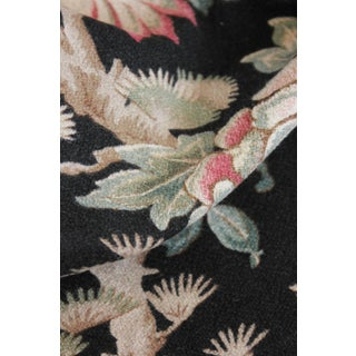 Antique 1880s French Chinoiserie Design W/ Black Ground Cretonne Curtain Fabric Preview