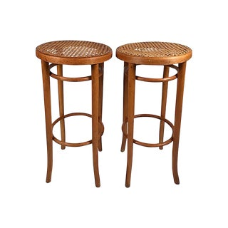 Caned Bentwood Stools, Pair For Sale