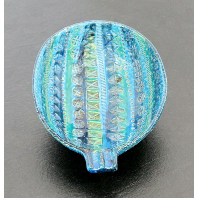 Mid-Century Modern Mid Century Modern Blue Green Ceramic Art Bowl Bitossi Made in Italy 1970s For Sale - Image 3 of 9