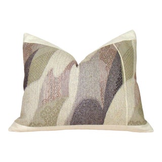Abstract Handwoven Japanese Raw Silk Obi Pillow Cover For Sale