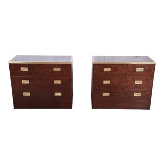 Milo Baughman for Directional Custom Collection Campaign Style Bachelor Chests or Large Nightstands, Pair For Sale