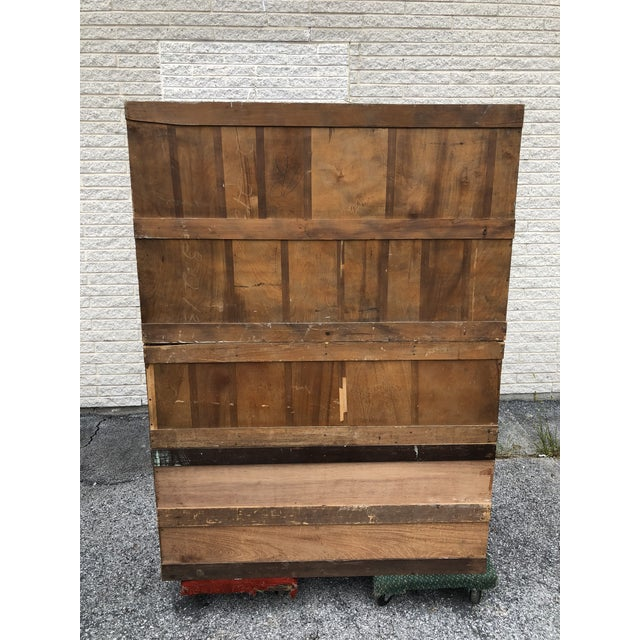 Gold Large Vintage Industrial Wood Hardware Cabinet For Sale - Image 8 of 13