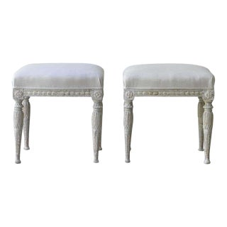 19th Century Swedish Gustavian Period Stool in Original Paint - a Pair For Sale