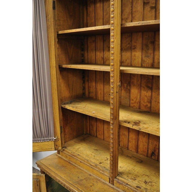 Antique Victorian Golden Oak Bookcase Hutch Buffet China Cabinet