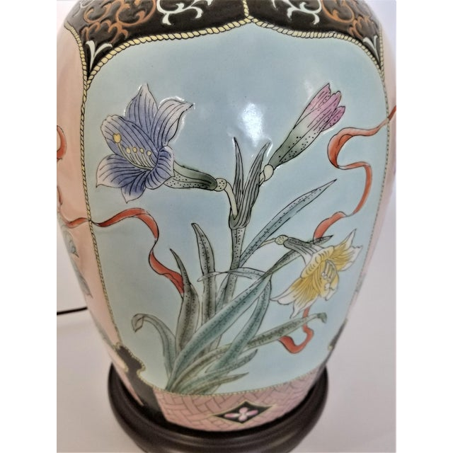 Mid 20th Century Large Famille Rose Noire Porcelain Chinese Table Lamp Flowers and Leaves For Sale - Image 5 of 13