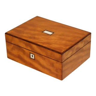 Antique Figured Satinwood Jewelry Box For Sale