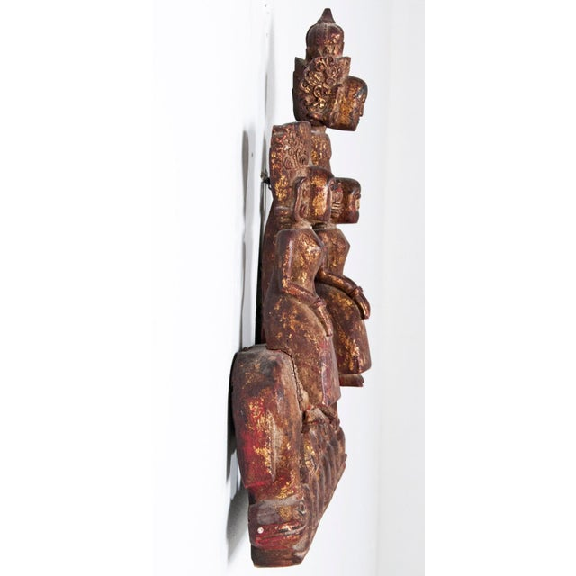 Rustic Mid 19th Century Burmese Figurative Carved Wood Fragment For Sale - Image 3 of 5