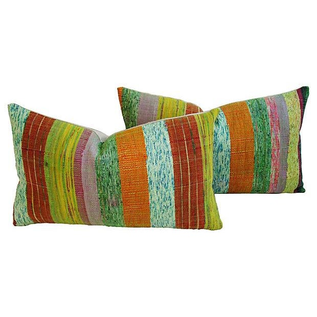 Custom Hand-Looped/Tufted Chindi Pillows - a Pair - Image 1 of 6