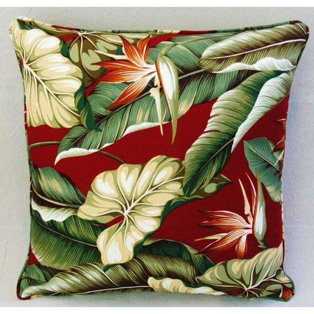 Custom Tailored Bird of Paradise Barkcloth Feather/Down Pillow - Image 3 of 5