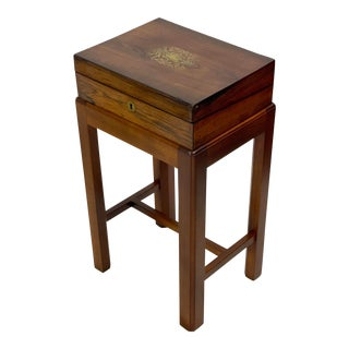 19th Century Mahogany Lap Desk/Jewelry Box on Stand For Sale