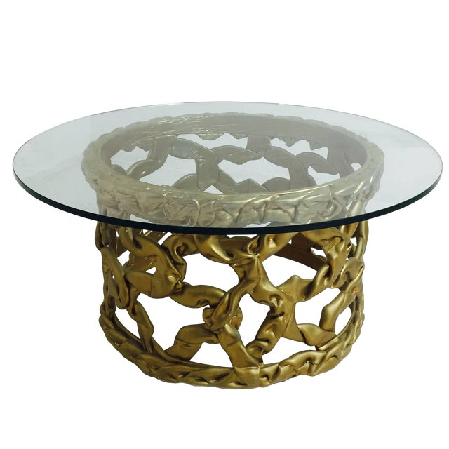 "Gold ""Ribbon"" Coffee Table in the Style of Tony Duquette For Sale"