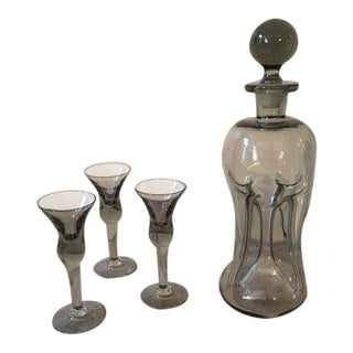Hand Blown Grey Glass Decanter & Glasses - Set of 4