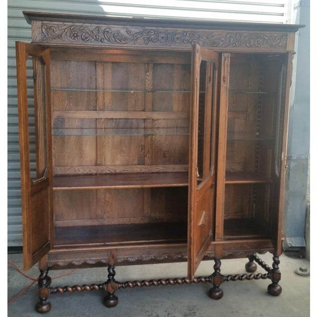 Antique Oak Barley Twist Bookcase Display China Cabinet / Bookcase Hutch For Sale - Image 9 of 12