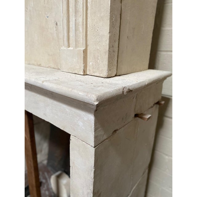 Early 19th Century 19th Century Limestone Mantel with Trumeau For Sale - Image 5 of 9