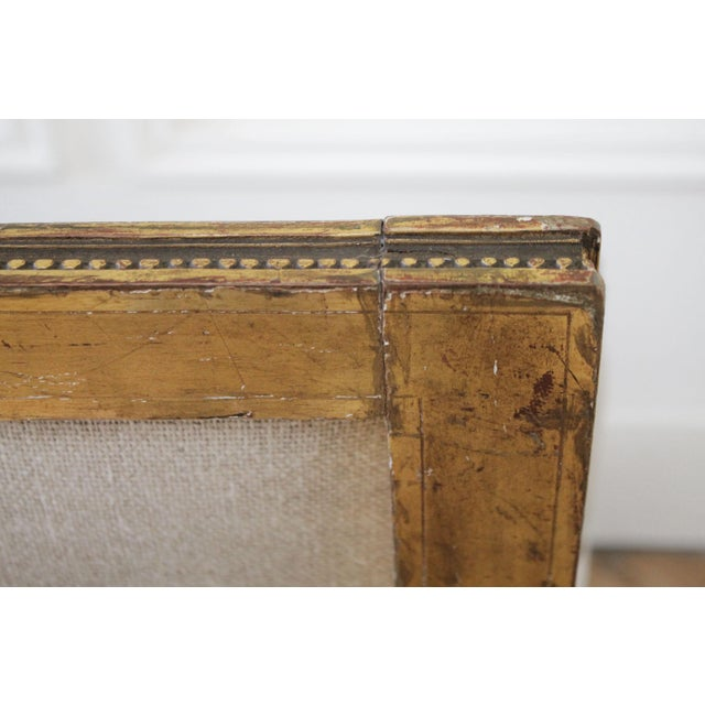 Antique Louis XVI Style Giltwood Settee in Linen For Sale - Image 11 of 13