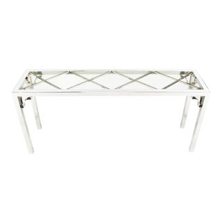 Chrome and Glass Chinese Chippendale Console Table For Sale