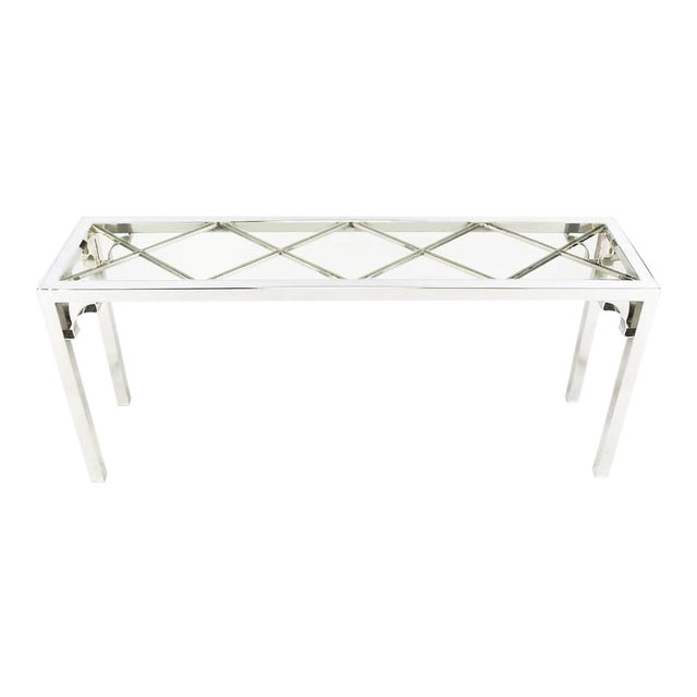 Chrome and Glass Chinese Chippendale Console Table - Image 1 of 6