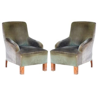 Transitional French Art Deco Velvet Armchairs - a Pair For Sale