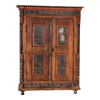 Mid 19th Century Antique Original Painted Armoire For Sale