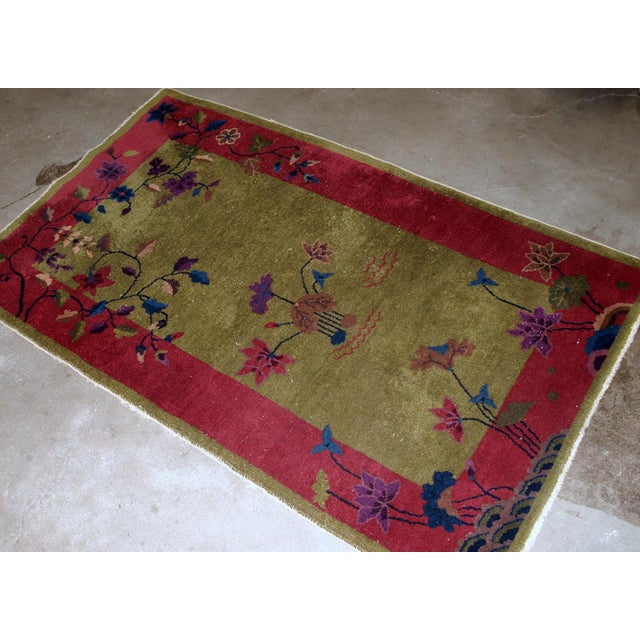 1920s, Handmade Antique Art Deco Chinese Rug 3.1' X 4.10' For Sale - Image 4 of 11