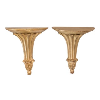 Italian Giltwood Wall Brackets - a Pair For Sale