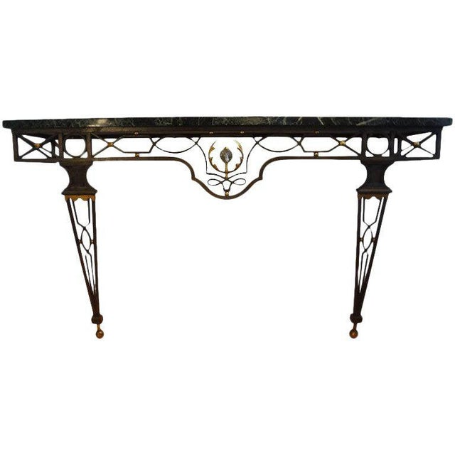 French Neoclassical Gilbert Poillerat Style Wrought Iron Console Table For Sale - Image 9 of 10