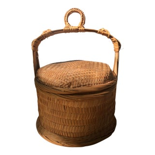 Chinese Natural Woven Wicker Bamboo Rattan Rice Wedding Basket For Sale