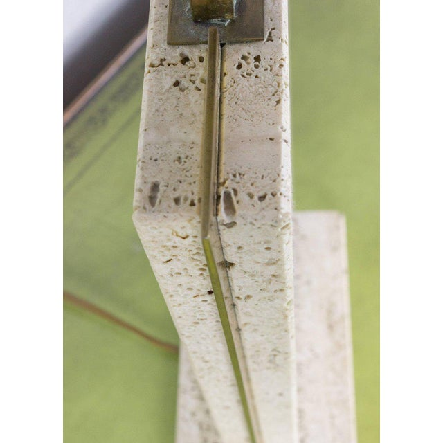 1970s Travertine and Brass Lamp Signed by Camille Breesch, 1970s For Sale - Image 5 of 9