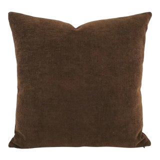 """Dark Brown Chenille Velvet Pillow Cover - 20"""" X 20"""" For Sale"""