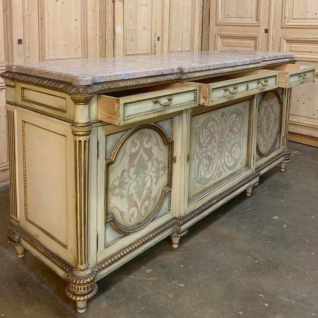 Metal Antique Italian Marble Top Painted Buffet For Sale - Image 7 of 13
