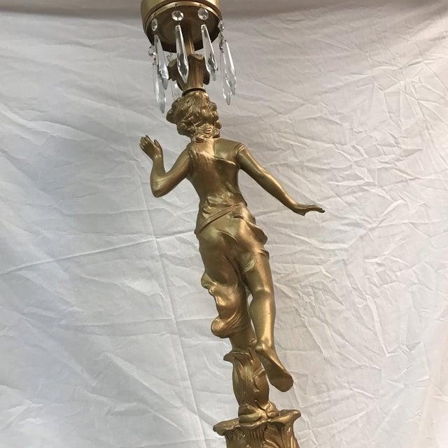 Vintage Metal Woman Figurine Lamp - Image 8 of 9