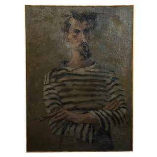 20th Century Self-Portrait Painting on Wood by Daniel Clesse For Sale