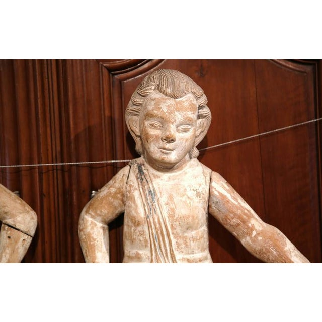 Mid-18th Century Italian Hand-Carved White Wash Cherubs - A Pair For Sale - Image 4 of 10