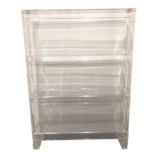 Modern Lucite Glass Shelving Unit For Sale