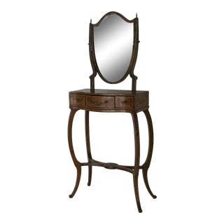 1790s Traditional Sheraton Shield Shaped Mirror Hand Painted Childs Vanity For Sale