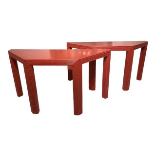 Chinese Red Bamboo Style Console Tables - a Pair For Sale