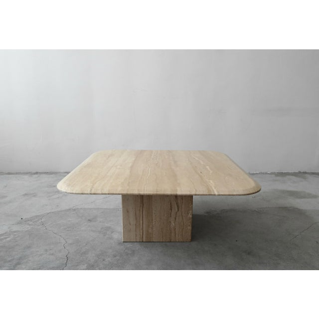 A beautiful Square Polished Italian Travertine Coffee Table. Table is polished and features a clean beveled edge, seldom...